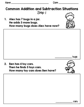 Common Addition and Subtraction Situations for Kindergarten, 1st, and 2nd