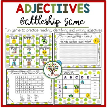 Common Adjectives {Games, worksheets, cards, writing tasks} ESL Beginners