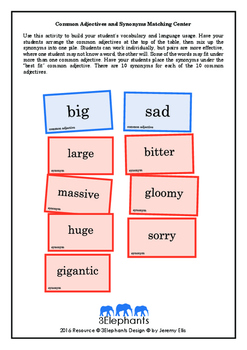 Common Adjectives and Synonyms Matching Center