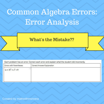 Common Algebra Errors: Error Analysis