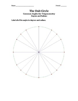 Blank Unit Circle Worksheets Teaching Resources Tpt
