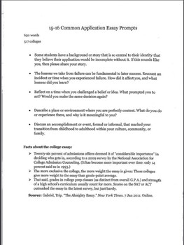Common App Essay Examples