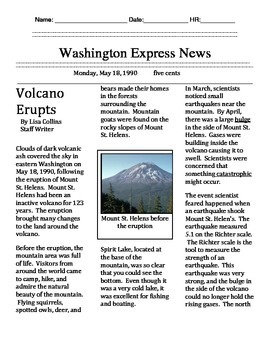 Common Assessment Volcanoes (4.RI. 1,2,5,6 and 8)