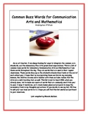 Common Buzz Words for Communication Arts and Mathematics