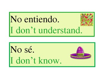 Common Classroom Expression Poster for Spanish