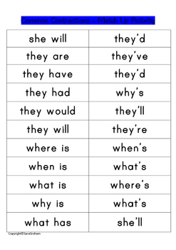 Common Contractions Lists and Mix Up/Jigsaw Activities