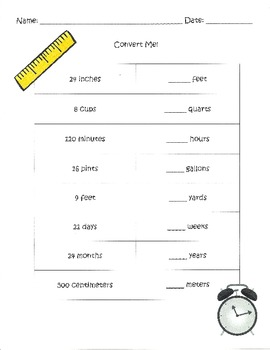 Common Conversions Worksheet