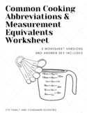 Common Cooking Abbreviations & Measurement Equivalents Wor