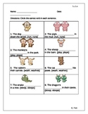Common Core- 1.L.1.c Use Singular & Plural Nouns with Matching Verbs