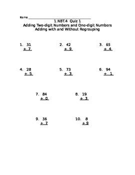 Common Core 1.NBT.4 Quiz  2-digit adding 1-digit