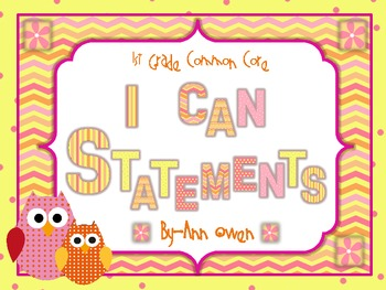 Common Core 1st Grade I Can Statements ~ Pink and Orange