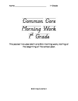 Common Core Morning Work Grade 1