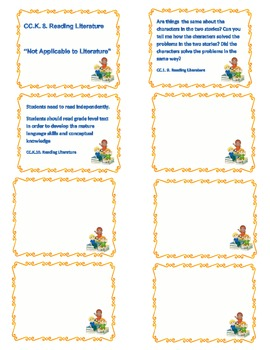 Common Core-1st Grade-Reading Literature cards