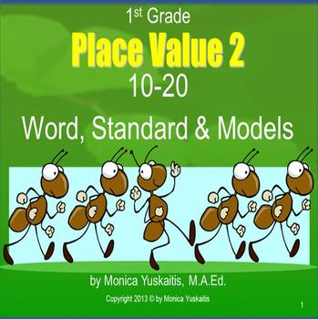 1st Grade Place Value 2 - 10-20 Word, Standard, & Models Powerpoint Lesson