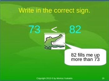 1st Grade Place Value 6 - Comparing & Ordering Numbers 20-100 Powerpoint Lesson