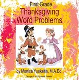 1st Grade Thanksgiving Add & Subtract Word Problems Powerp