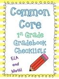 Common Core 1st grade Gradebook Checklists
