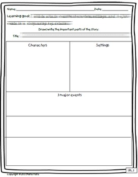 Common Core 1st grade Reading Literature Response Sheets in ENGLISH