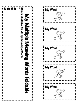 Common Core 2-5 Baseball Themed Multiple Meaning Word Activity Packet