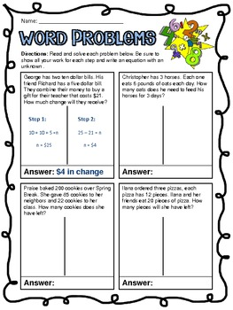 Common Core: 2-Step Word Problems