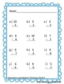 Common Core 2.OA Math Worksheet Packet