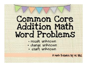 Common Core 2.OA.A.1 Algebra Word Problems {Add: Result, C
