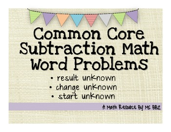 Common Core 2.OA.A.1 Algebra Word Problems {Subtraction With Unknowns}