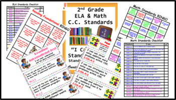 """Common Core 2nd Grade """"I can…"""" Statements for ELA & Math (4 per page)"""