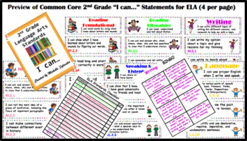 "Common Core 2nd Grade ""I can…"" Statements for ELA & Math (4 per page)"