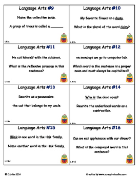 Common Core 2nd Grade Language Arts ELA Set Three ~ Scoot Game ~ Task Cards