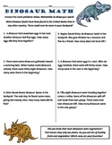Common Core 2nd Grade Math Word Problems -- Dinosaur Themed
