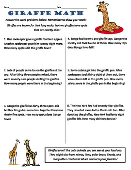Common Core 2nd Grade Math Word Problems -- Giraffe Themed