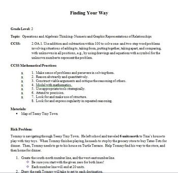 Common Core, 2nd Grade Task:  Finding Your Way