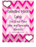 Common Core 2nd Grade Valentine Place Value and Comparing Numbers Cards