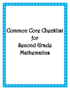 Common Core: 2nd Math Checklist