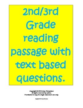 Common Core 2nd/3rd Grade Reading Passage with Evidence Ba