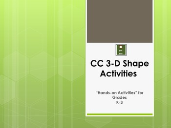 3-D Geometry Activities for K-3: Common Core Based