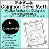 Common Core 3.OA.1-OA.7 & NBT.3 | Multiplication and Division Assessments