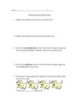 Common Core 3OA.1 Practice Sheet