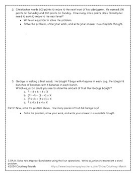 Common Core 3.OA.8 Two-Step Word Problem Assessment FREEBIE