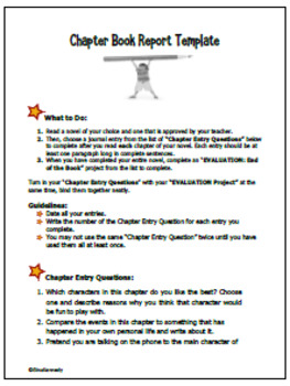 chapter book report for 3rd and 4th graders use with any novel