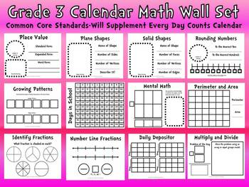 common core 3rd grade calendar wall set supplement every day calendar. Black Bedroom Furniture Sets. Home Design Ideas