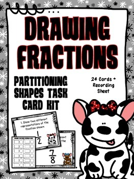 Common Core 3rd Grade- Drawing Fractions/Partitioning Task Card Kit