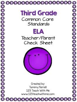 Common Core 3rd Grade ELA Organizer: Teacher Check Sheet