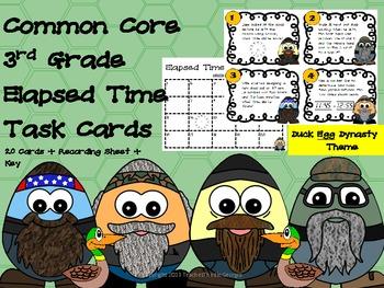 Common Core 3rd Grade Elapsed Time Task Cards-Duck Egg Dynasty!