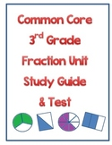 Common Core 3rd Grade Fraction Study Guide and Test