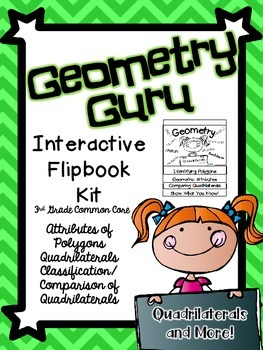 Common Core 3rd Grade- Geometry Interactive Flipbook- Quadrilaterals and More!