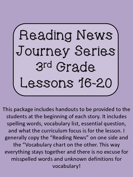 Reading News 3rd Grade Journey's Text Lessons 16-20