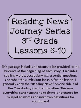 Reading News 3rd Grade Journey's Text Lessons 6-10