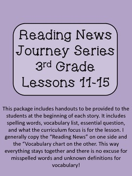 Reading News 3rd Grade Journey's Text Lessons 11-15